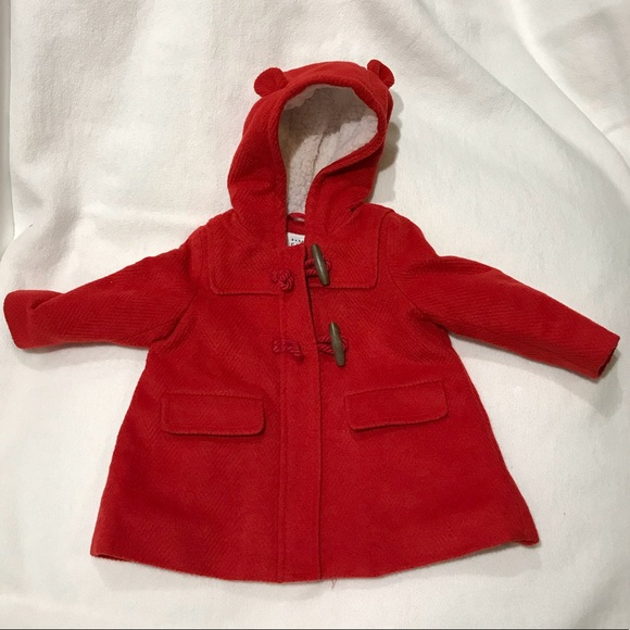 shop for best look good shoes sale aliexpress Red wool coat with bear-ear hood for baby/toddler